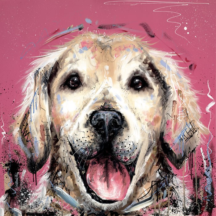 Mucky Pup by Samantha Ellis - Hand Finished Limited Edition on Canvas sized 20x20 inches. Available from Whitewall Galleries